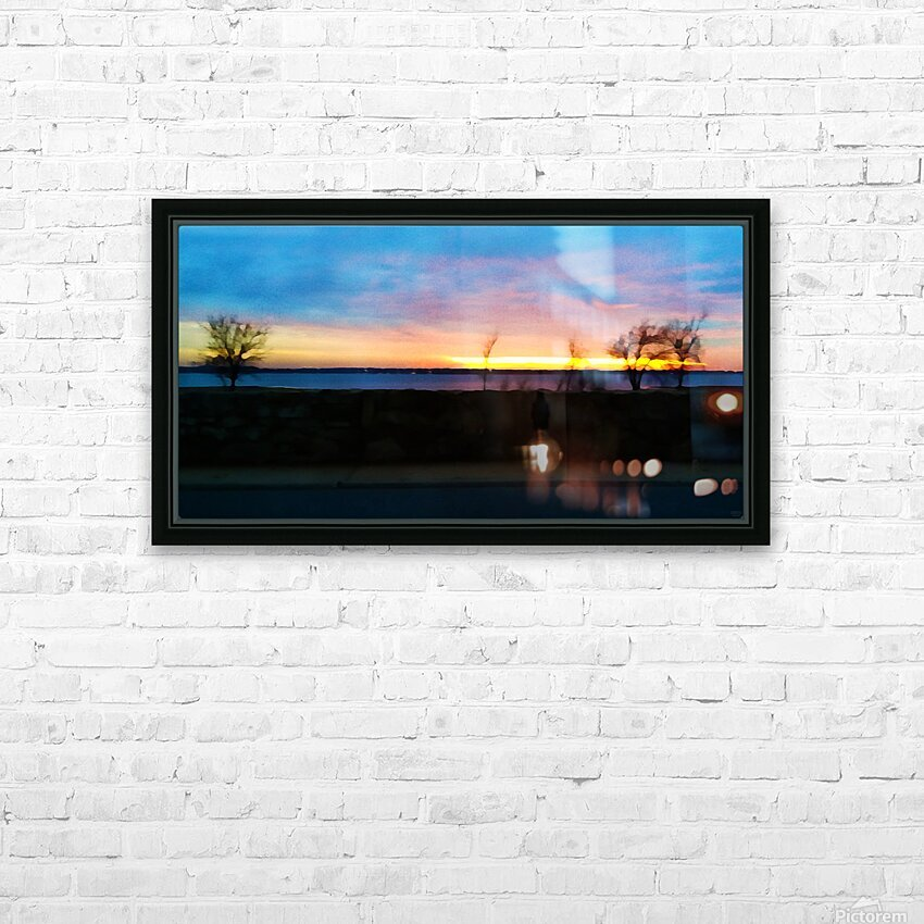 lake sunset 4 trees HD Sublimation Metal print with Decorating Float Frame (BOX)