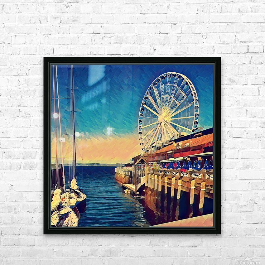seattle great wheel HD Sublimation Metal print with Decorating Float Frame (BOX)