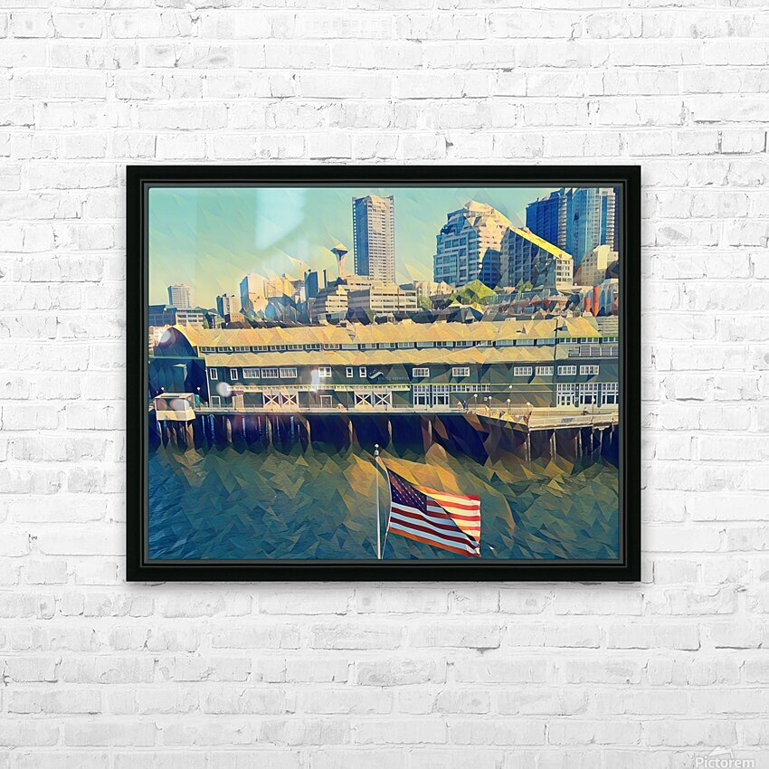 seattle skyline HD Sublimation Metal print with Decorating Float Frame (BOX)