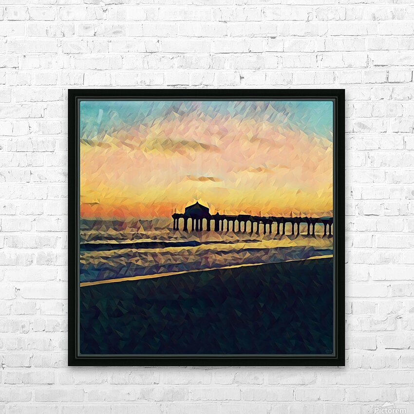 manhattan beach sunset HD Sublimation Metal print with Decorating Float Frame (BOX)