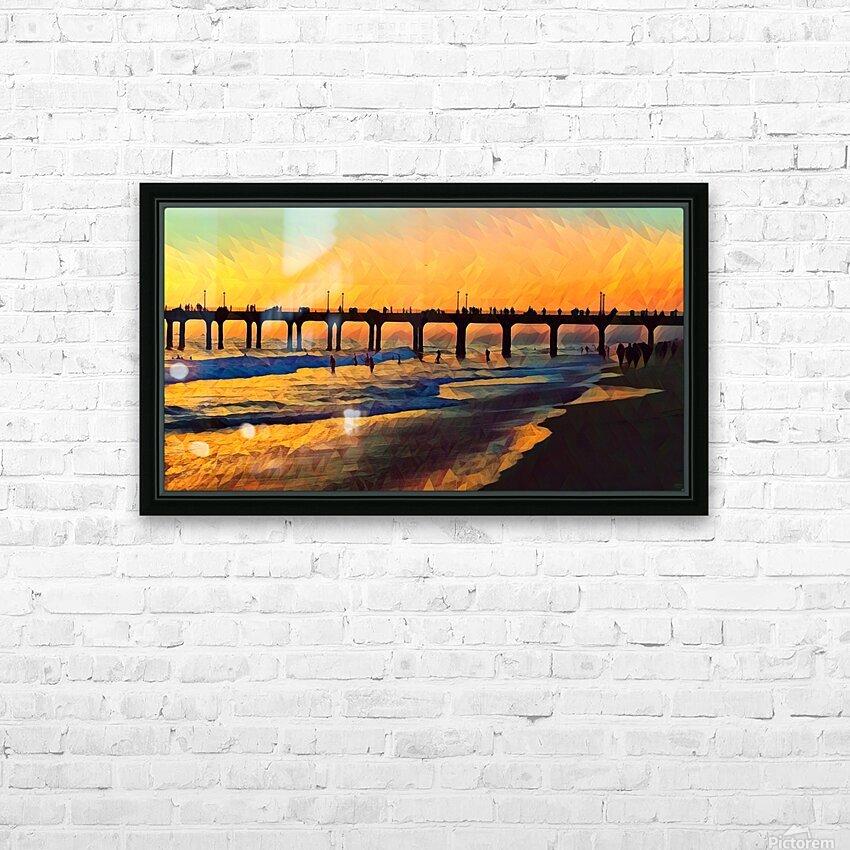 manhattan beach sunset art HD Sublimation Metal print with Decorating Float Frame (BOX)