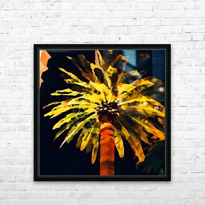 las vegas palm tree at night HD Sublimation Metal print with Decorating Float Frame (BOX)