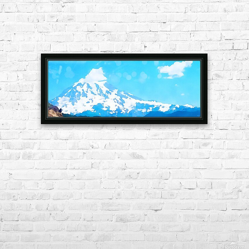 mt ranier art blue sky HD Sublimation Metal print with Decorating Float Frame (BOX)