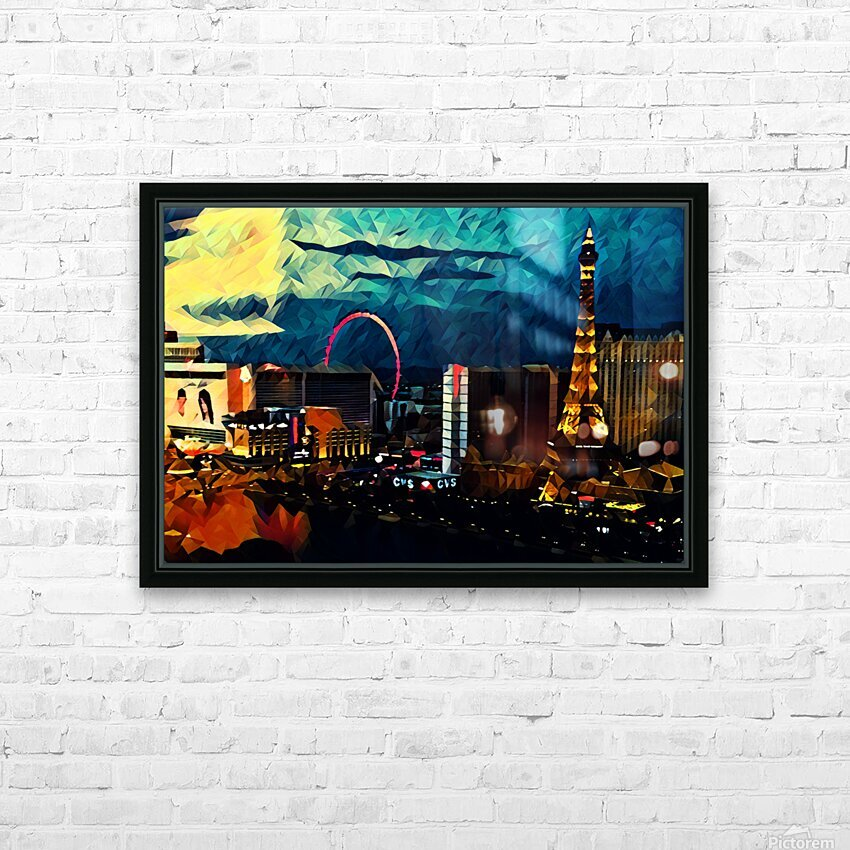 las vegas night HD Sublimation Metal print with Decorating Float Frame (BOX)