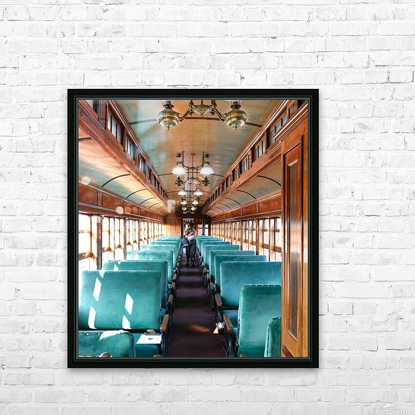 Interior of Antique Railcar. HD Sublimation Metal print with Decorating Float Frame (BOX)