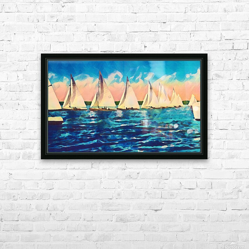 sail boats art HD Sublimation Metal print with Decorating Float Frame (BOX)