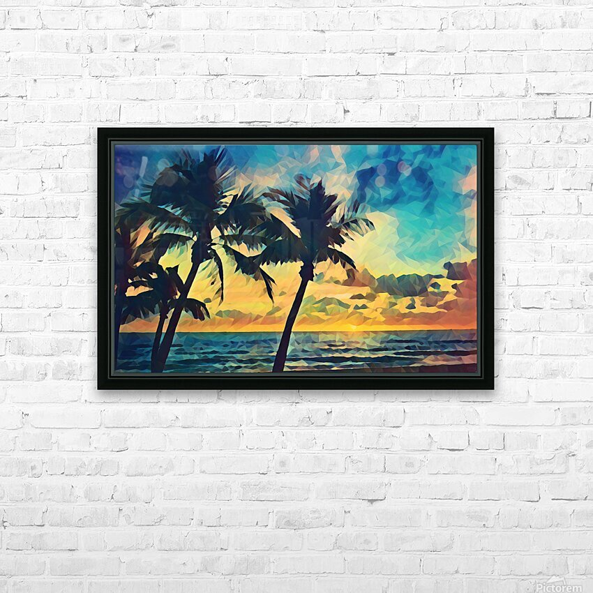 florida palm trees art HD Sublimation Metal print with Decorating Float Frame (BOX)