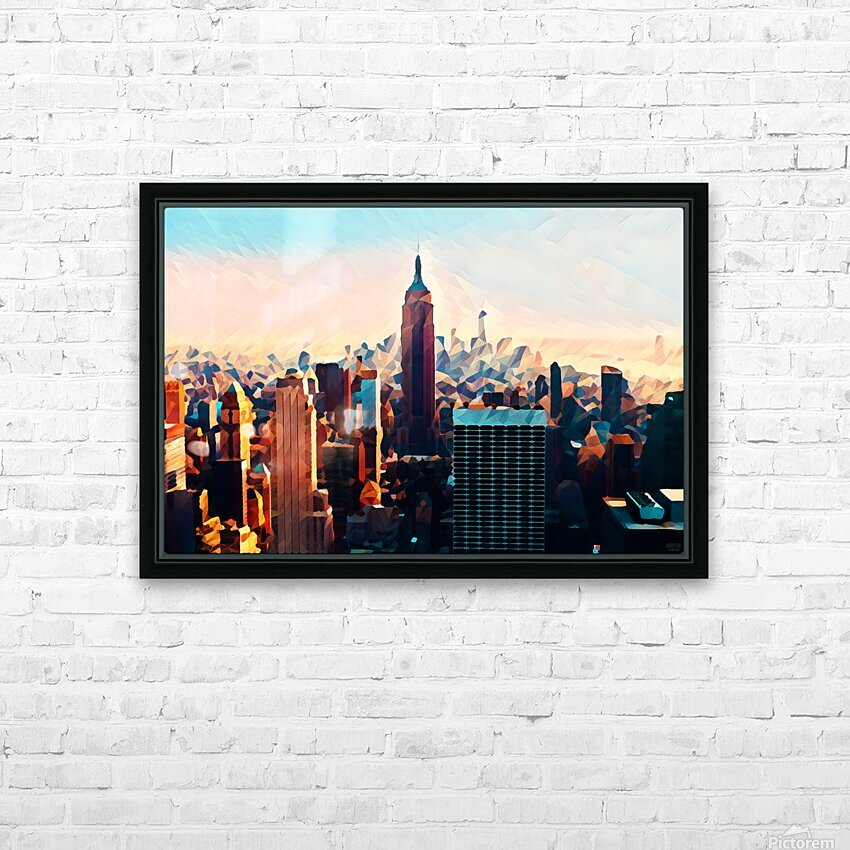 new york city skyline HD Sublimation Metal print with Decorating Float Frame (BOX)