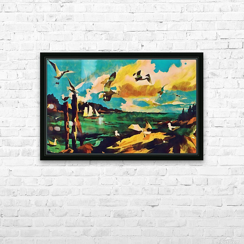 gulls laurence sisson maine art remix HD Sublimation Metal print with Decorating Float Frame (BOX)