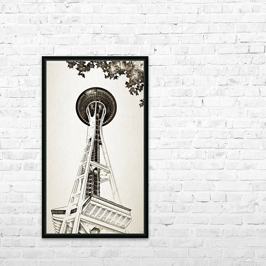 black white seattle space needle art HD Sublimation Metal print with Decorating Float Frame (BOX)
