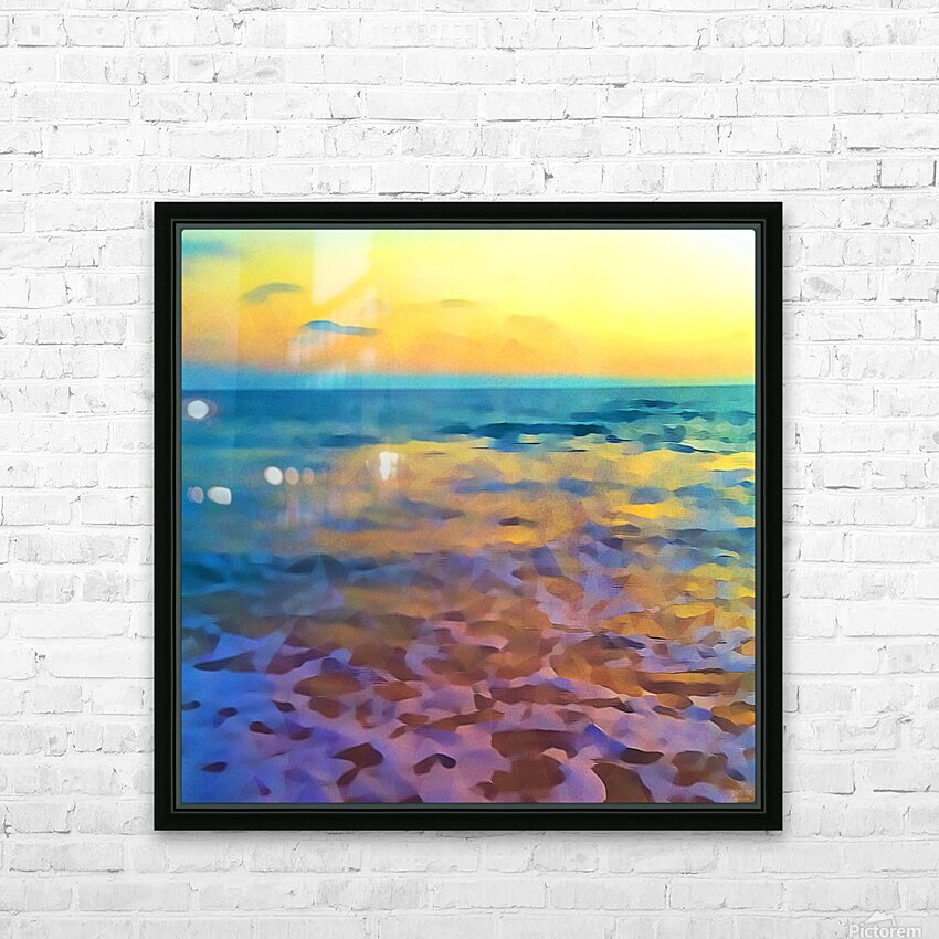 Yellow Sky at Manhattan Beach HD Sublimation Metal print with Decorating Float Frame (BOX)