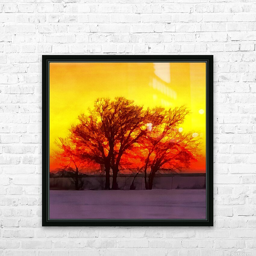 snowy evening HD Sublimation Metal print with Decorating Float Frame (BOX)