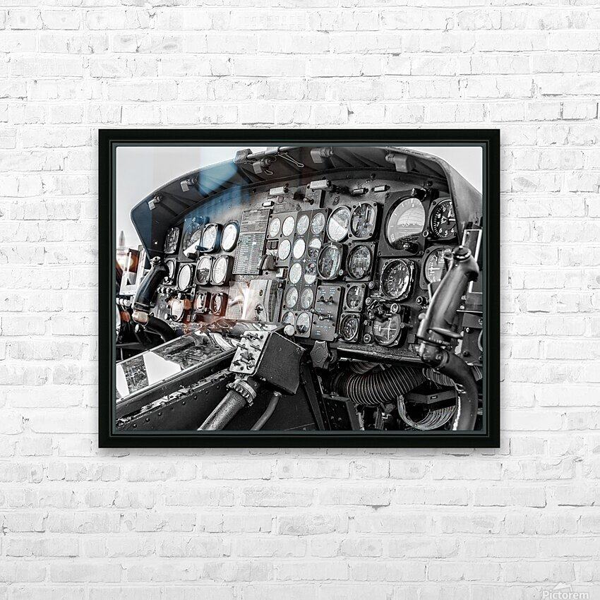 Helicopter Cockpit HD Sublimation Metal print with Decorating Float Frame (BOX)