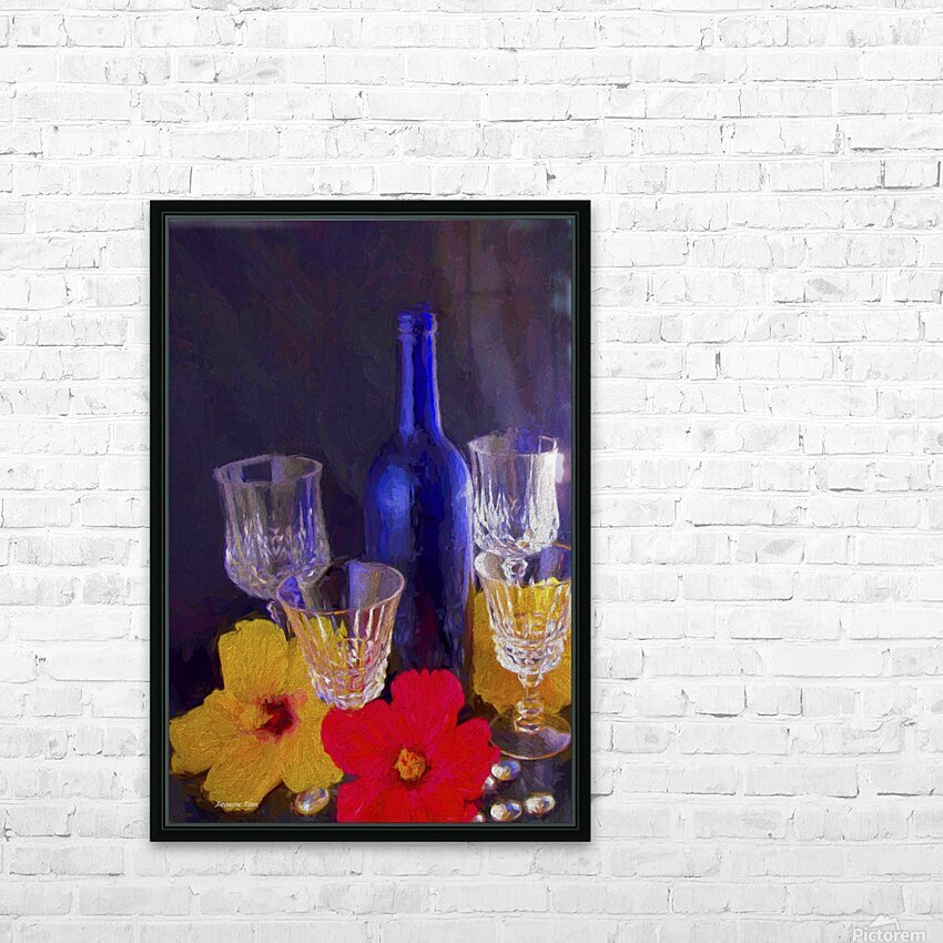 Painterly Blue Wine Bottle with four Crystal and Tropical Flowers HD Sublimation Metal print with Decorating Float Frame (BOX)
