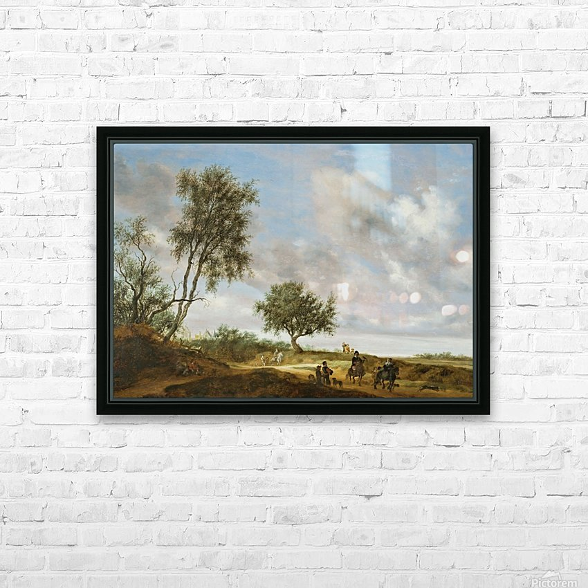 Landscape with a Hunting Party, 1648 HD Sublimation Metal print with Decorating Float Frame (BOX)