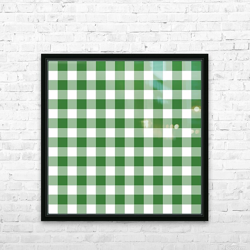 Green Plaid Pattern HD Sublimation Metal print with Decorating Float Frame (BOX)