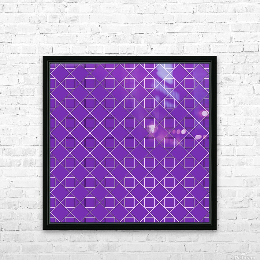Purple Squares And Diamonds Pattern HD Sublimation Metal print with Decorating Float Frame (BOX)