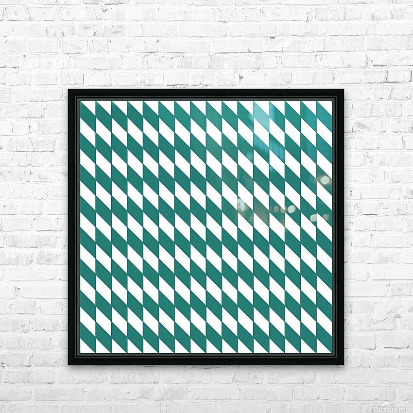 Dark Green Checkers Pattern HD Sublimation Metal print with Decorating Float Frame (BOX)