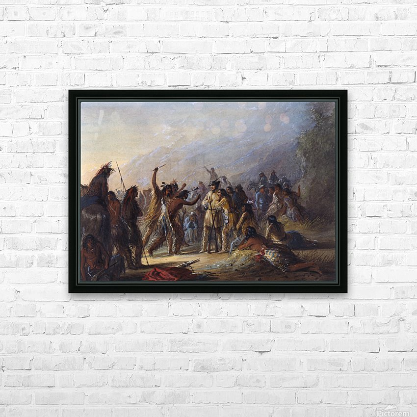 Attack by Crow Indians HD sublimation métal imprimé avec décoration flotteur cadre (boîte)