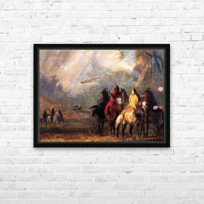 Caravan Passing a Mountain Gorge in a Storm HD Sublimation Metal print with Decorating Float Frame (BOX)
