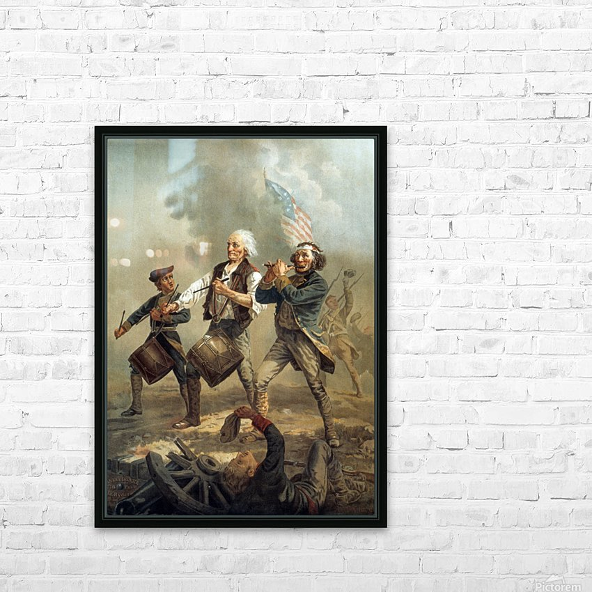 A painting of three men marching through a battle scene HD Sublimation Metal print with Decorating Float Frame (BOX)