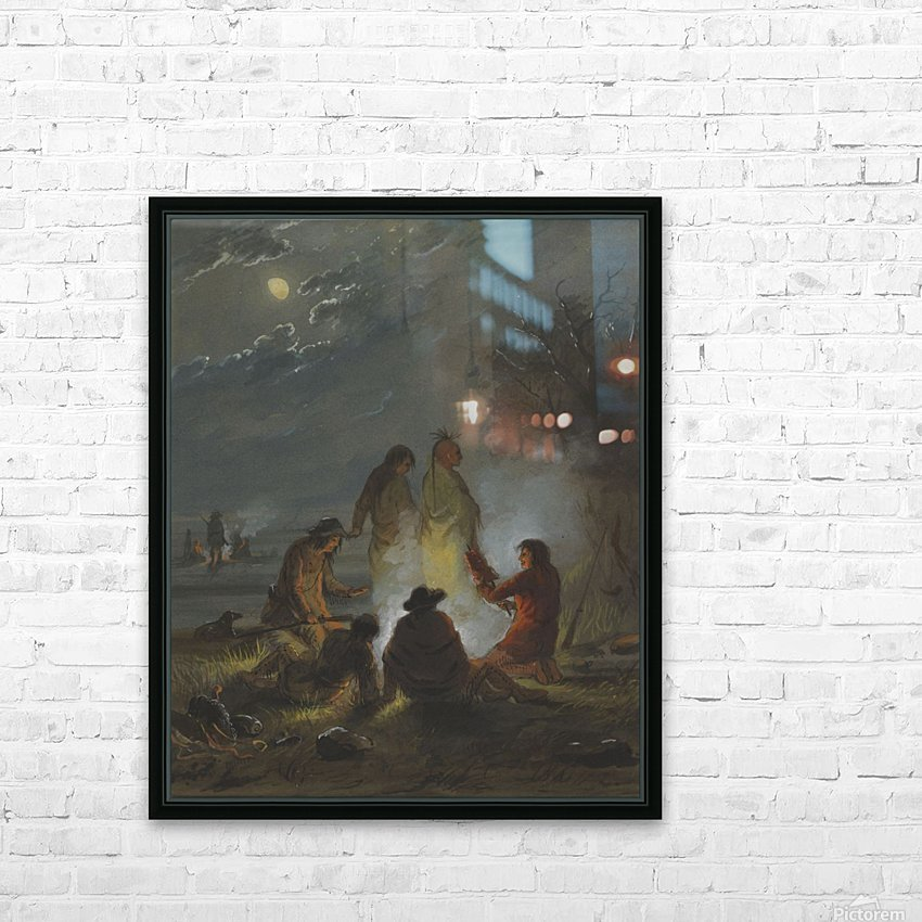 Camp Fire, Preparing the Evening Meal HD Sublimation Metal print with Decorating Float Frame (BOX)