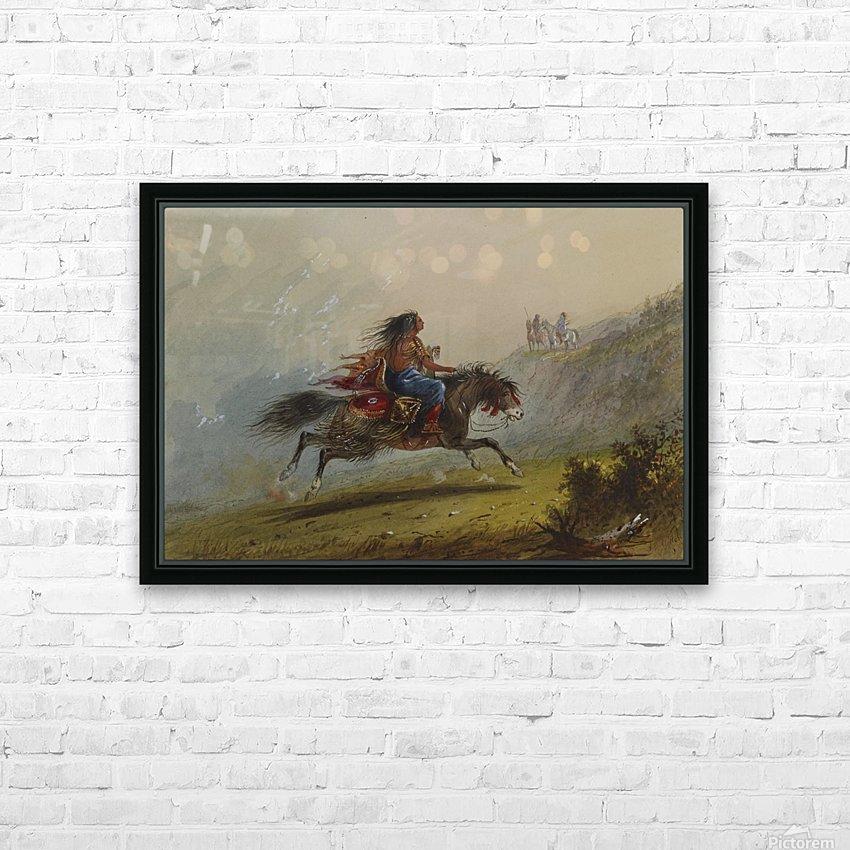 An Indian girl on horseback HD sublimation métal imprimé avec décoration flotteur cadre (boîte)