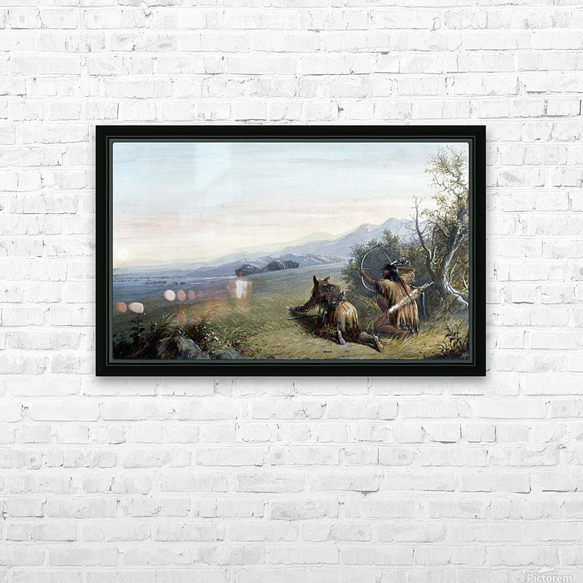 Indian hunters HD Sublimation Metal print with Decorating Float Frame (BOX)