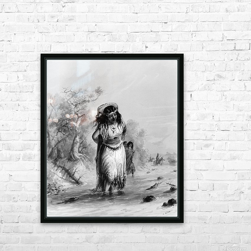Indian Girl with Papoose Crossing HD Sublimation Metal print with Decorating Float Frame (BOX)