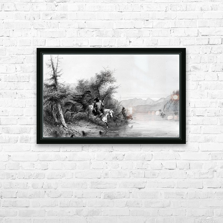 Snake Indians - Fording a River HD Sublimation Metal print with Decorating Float Frame (BOX)