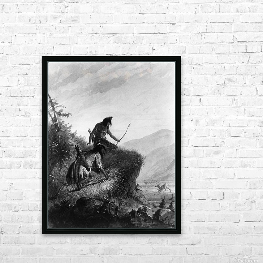 Snake Indians Shooting Elk HD Sublimation Metal print with Decorating Float Frame (BOX)