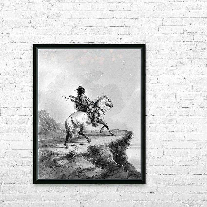 Crow Indian on the Lookout HD Sublimation Metal print with Decorating Float Frame (BOX)