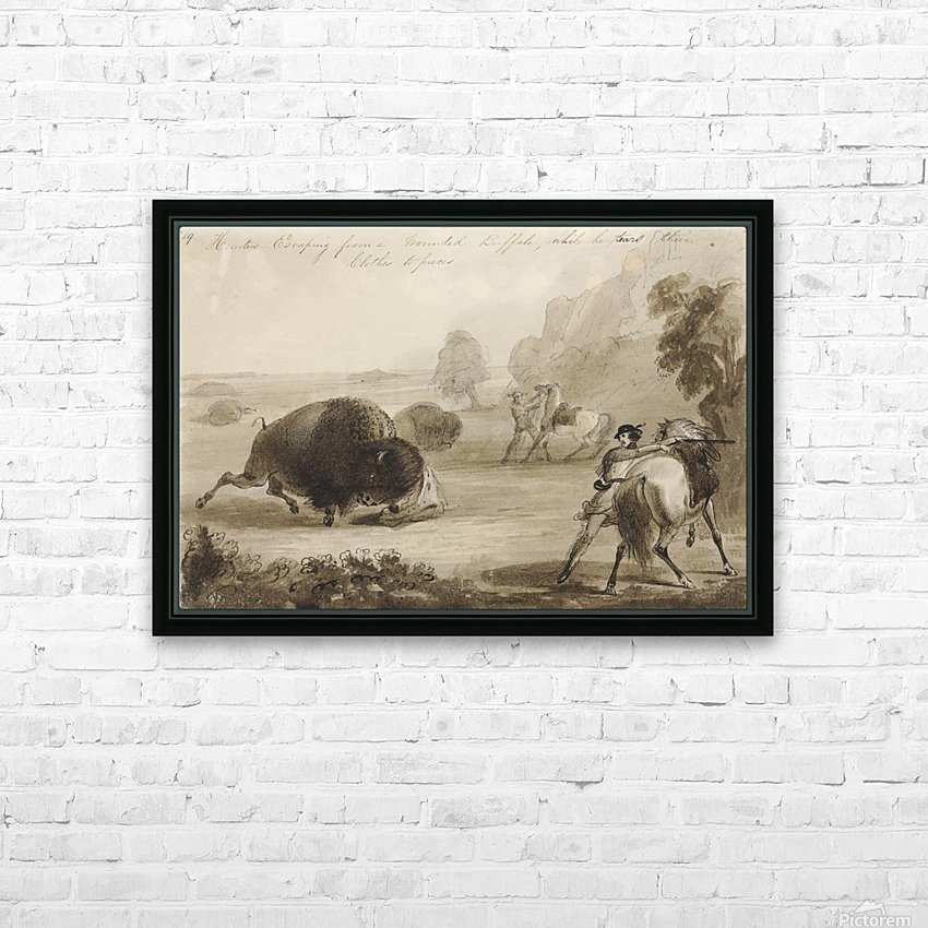 Hunters Escaping from a Wounded Buffalo, While He Tears Their Clothes to Pieces HD Sublimation Metal print with Decorating Float Frame (BOX)