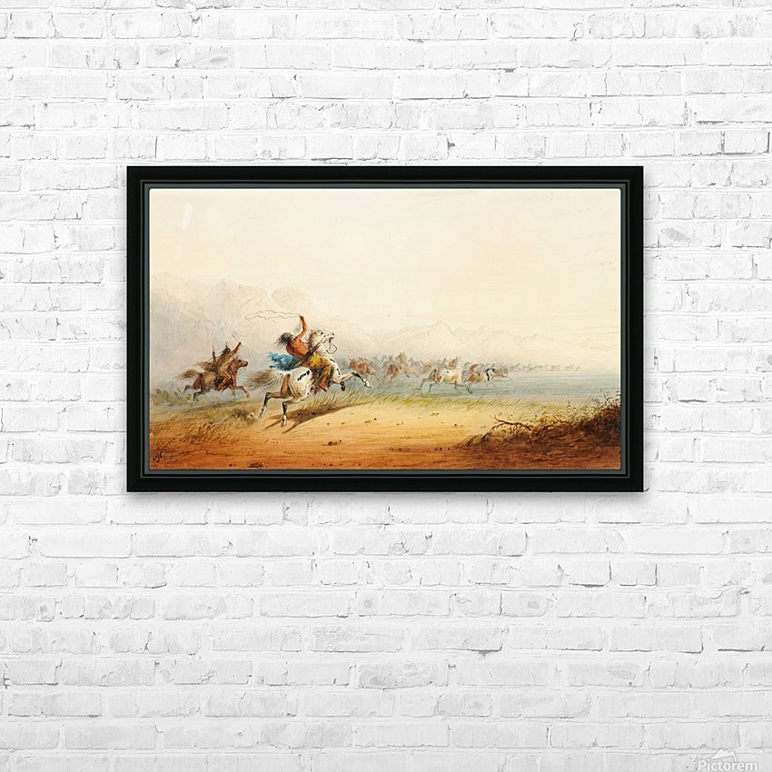 Lassoing Horses HD Sublimation Metal print with Decorating Float Frame (BOX)
