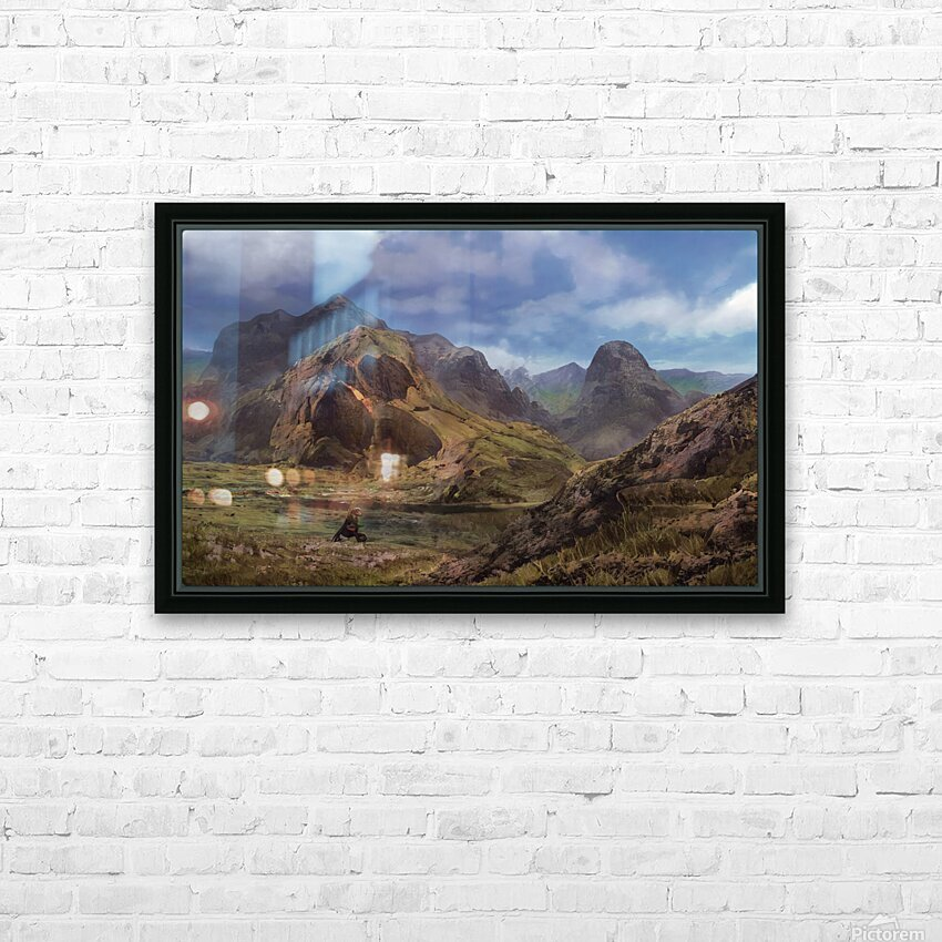 Landscape with giant skull HD Sublimation Metal print with Decorating Float Frame (BOX)