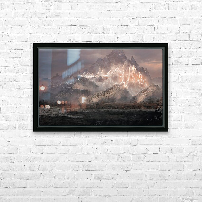 Snowy mountain HD Sublimation Metal print with Decorating Float Frame (BOX)