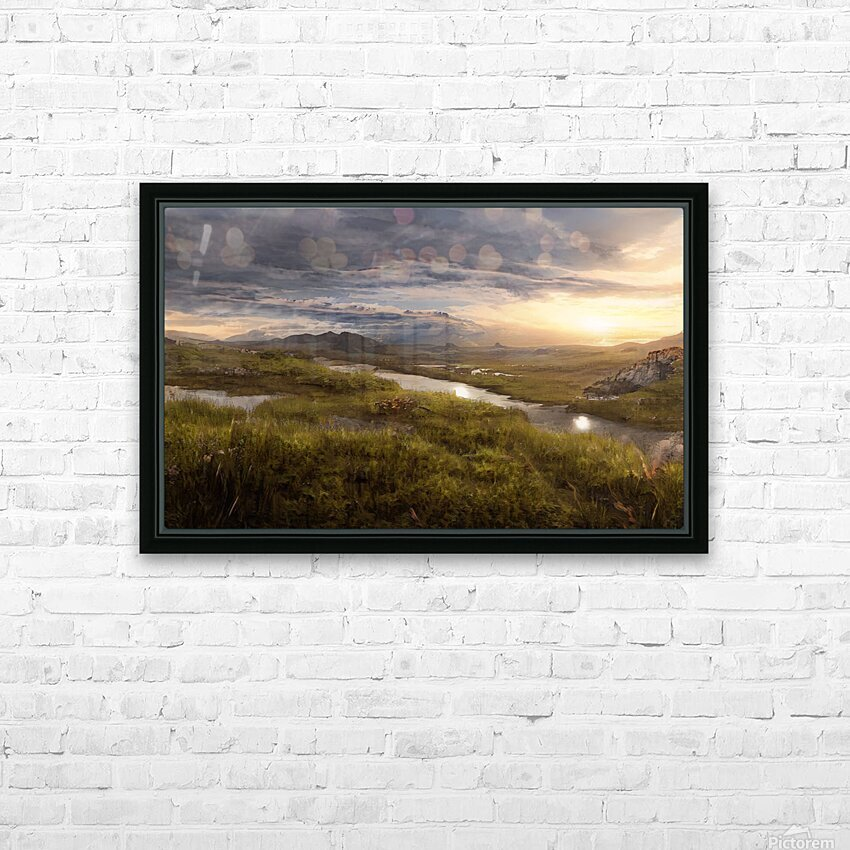Landscape with river 1 HD Sublimation Metal print with Decorating Float Frame (BOX)