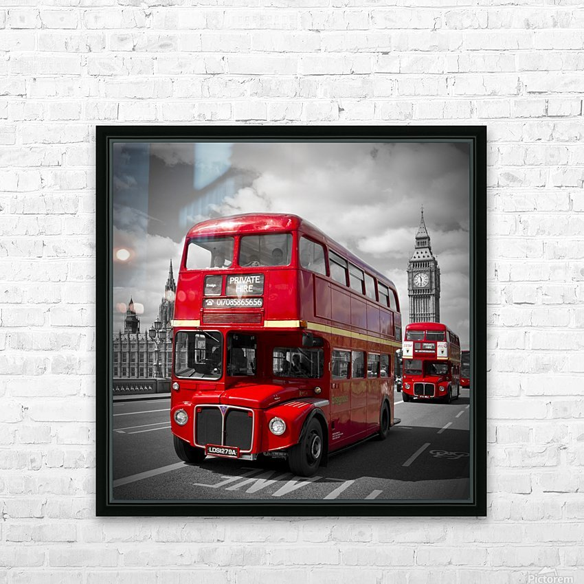 LONDON Red Buses on Westminster Bridge HD Sublimation Metal print with Decorating Float Frame (BOX)