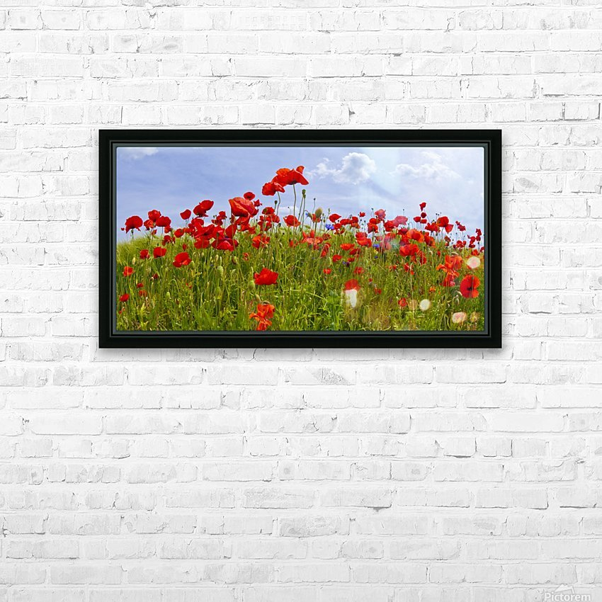 Field of Red Poppies HD Sublimation Metal print with Decorating Float Frame (BOX)