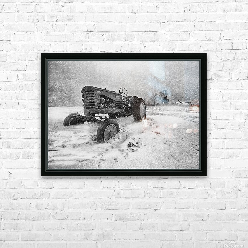 Winter Snow  Mountain Farm And Old Tractor HD Sublimation Metal print with Decorating Float Frame (BOX)