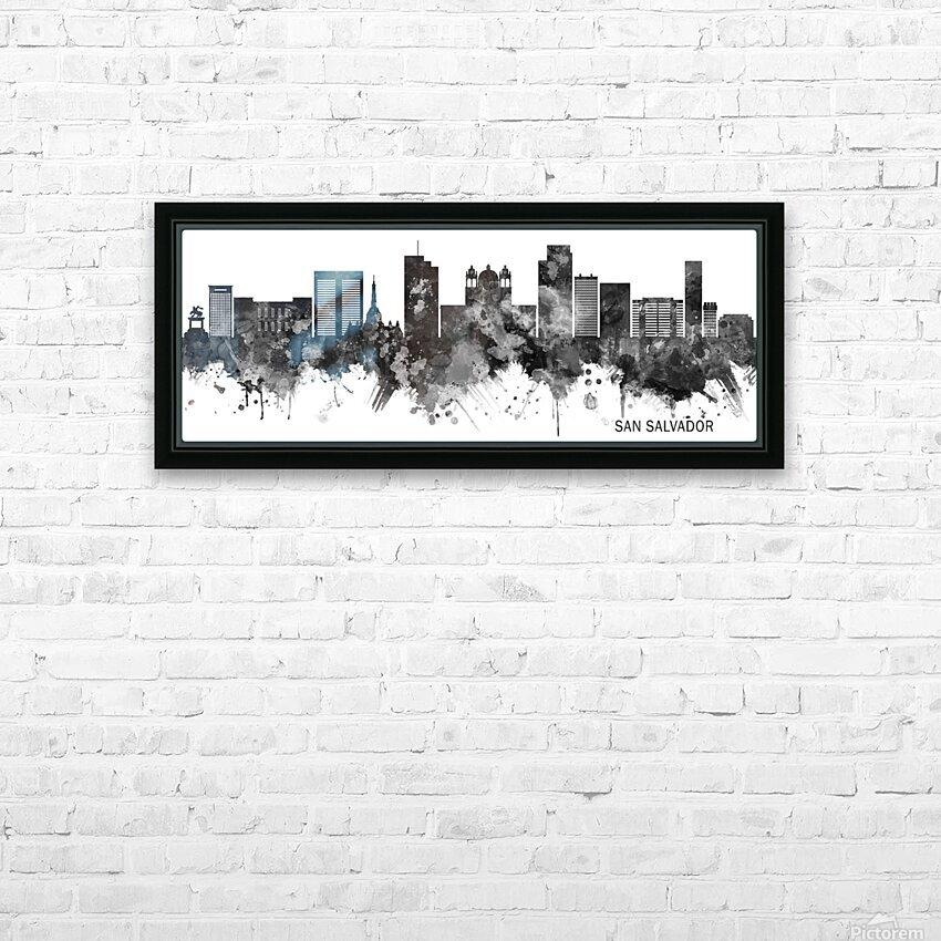 San Salvador Skyline BW HD Sublimation Metal print with Decorating Float Frame (BOX)