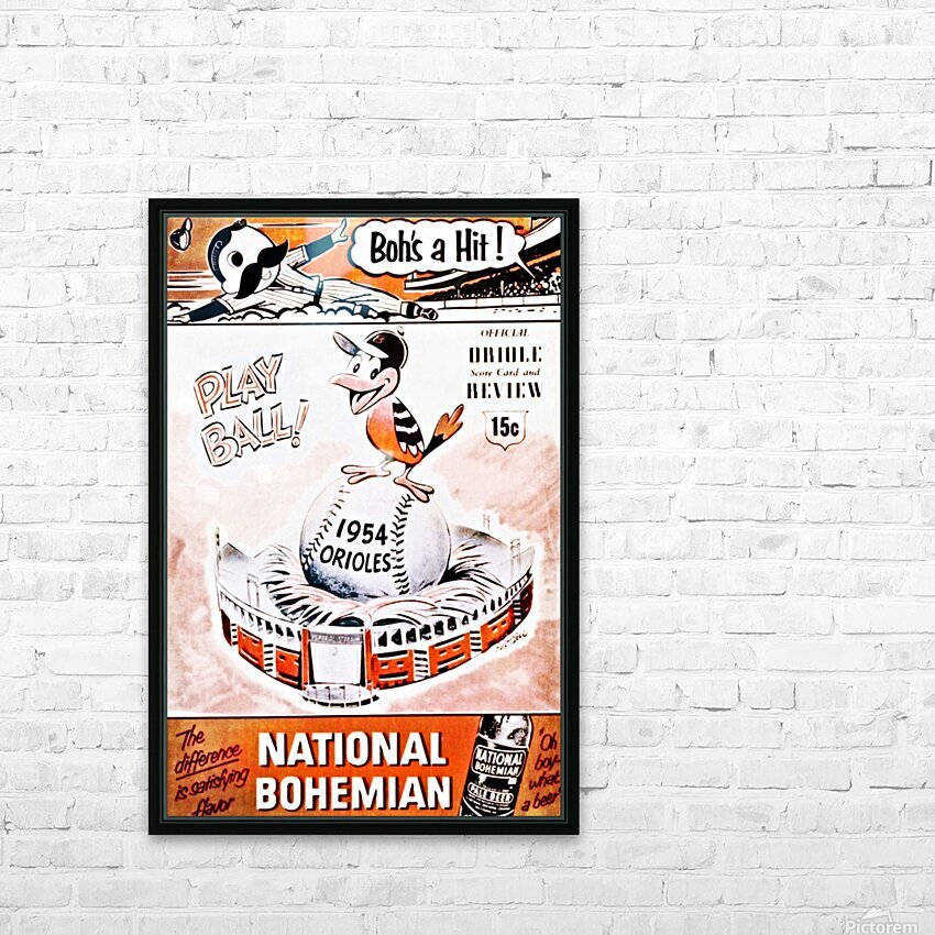1954 Orioles Score Card Art HD Sublimation Metal print with Decorating Float Frame (BOX)