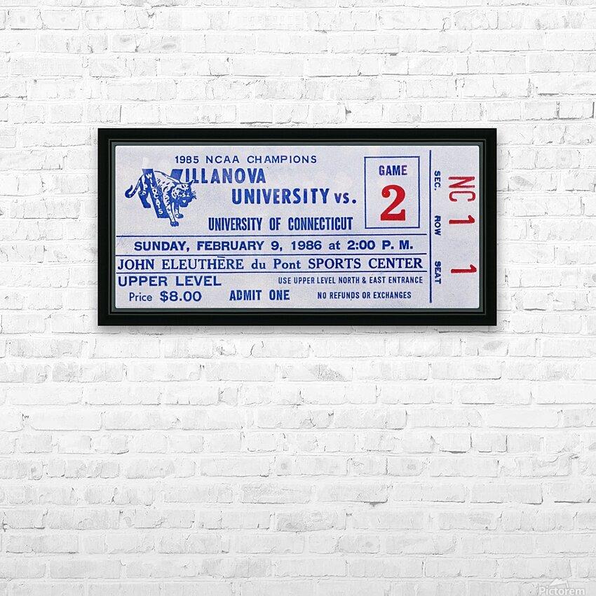 1986 Villanova vs. Connecticut Basketball Ticket Canvas HD Sublimation Metal print with Decorating Float Frame (BOX)