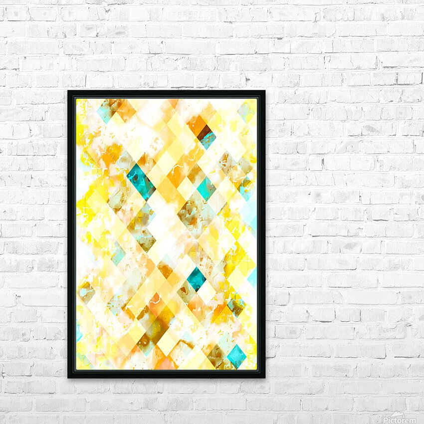 geometric pixel square pattern abstract in yellow brown blue HD Sublimation Metal print with Decorating Float Frame (BOX)