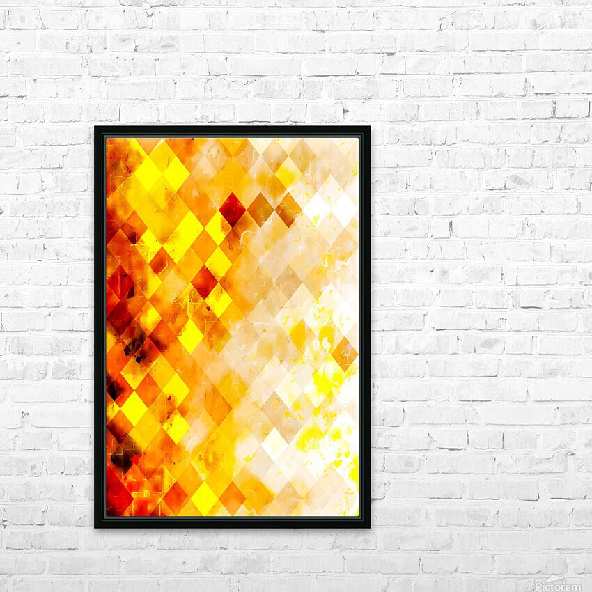 geometric pixel square pattern abstract in brown and yellow HD Sublimation Metal print with Decorating Float Frame (BOX)