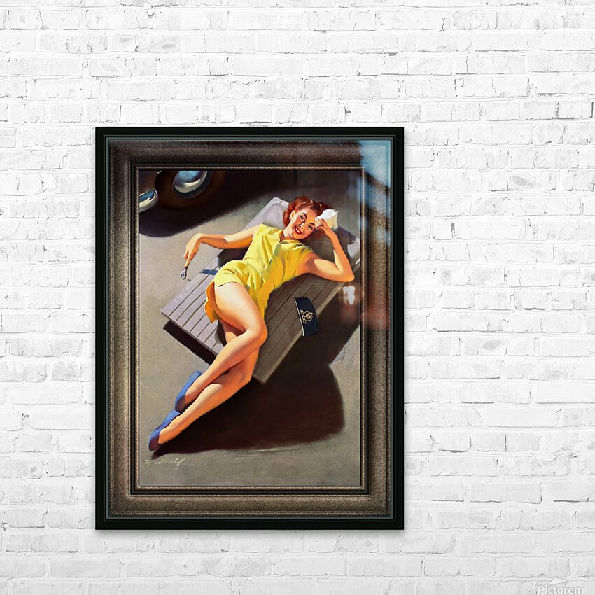 Permite Mechanic Pin-up Girl by Bill Medcalf Vintage Art HD Sublimation Metal print with Decorating Float Frame (BOX)