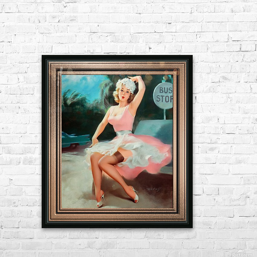 Bus Stop Pinup Girl Vintage Artwork HD Sublimation Metal print with Decorating Float Frame (BOX)