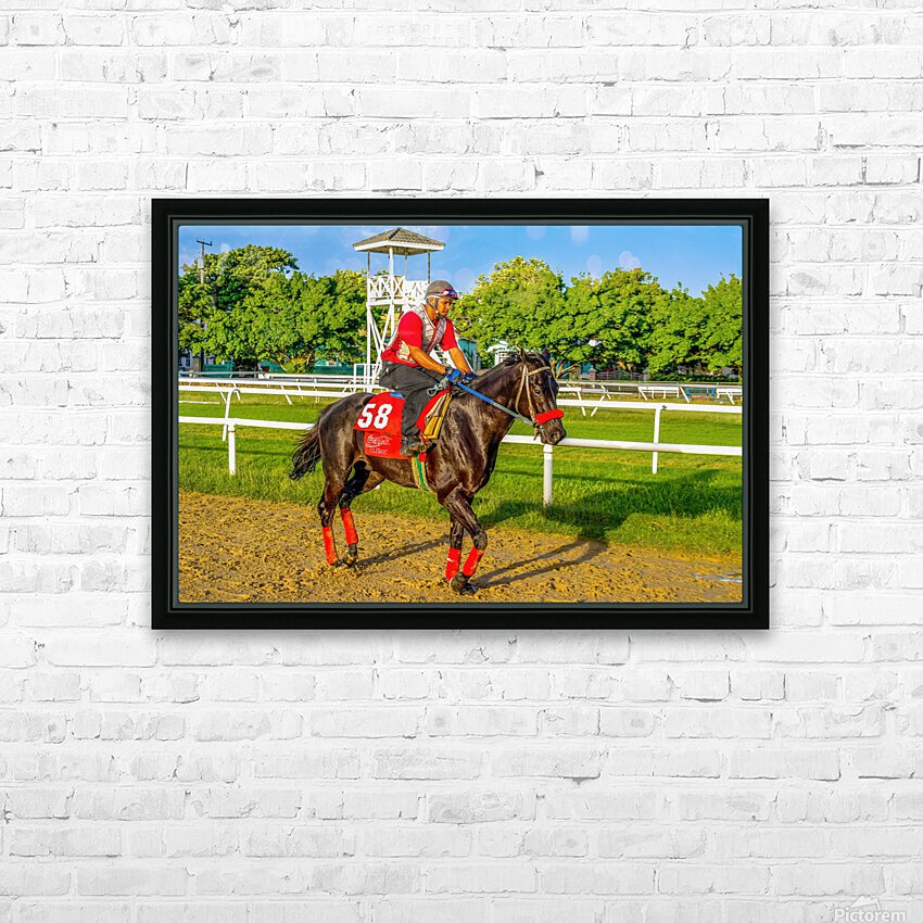 Racehorse01 HD Sublimation Metal print with Decorating Float Frame (BOX)