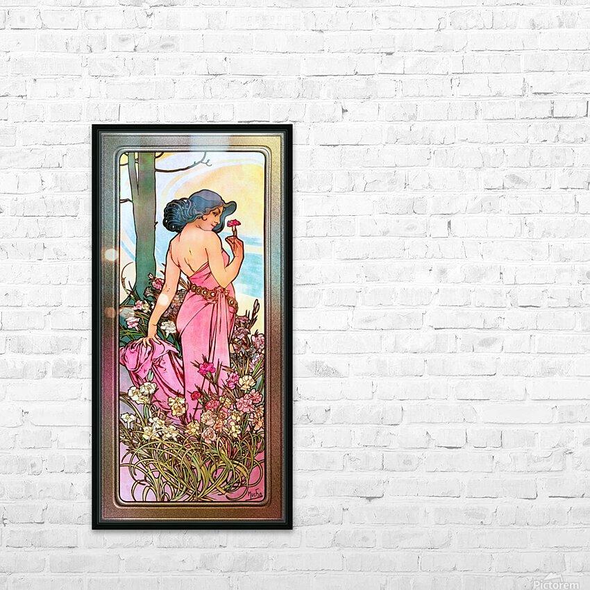 Carnation Art Nouveau Portrait by Alphonse Mucha Vintage Old Masters Art Nouveau Reproduction HD Sublimation Metal print with Decorating Float Frame (BOX)