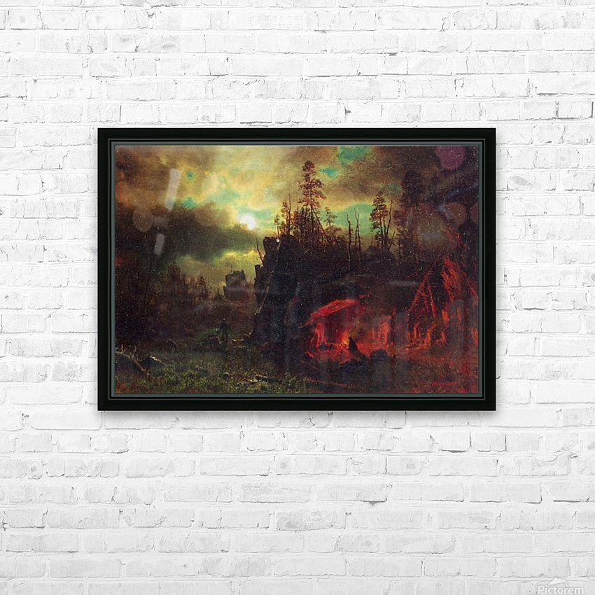 Trapper s camp by Bierstadt HD Sublimation Metal print with Decorating Float Frame (BOX)